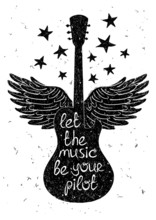 Hand drawn musical illustration with silhouettes of guitar.