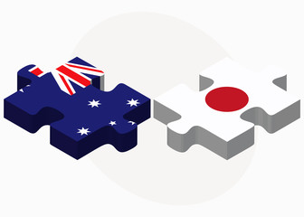 Australia and Japan Flags in puzzle