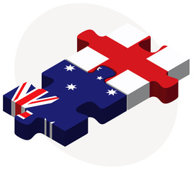 Australia and England Flags in puzzle