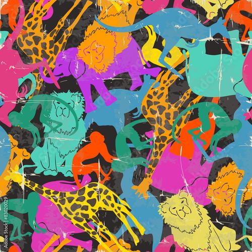 Materiał do szycia Wzór retro sylwetki zwierząt.