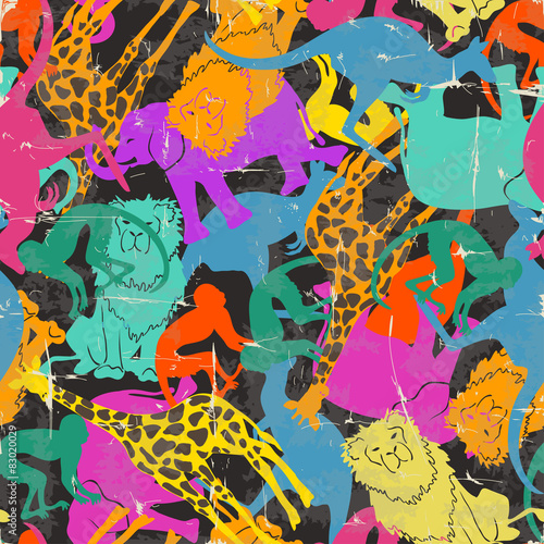 Cotton fabric Retro animal silhouettes seamless pattern.