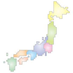 地域区分別日本ドット地図(パステルカラー)