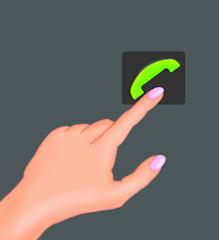 Рука нажимает кнопку вызова