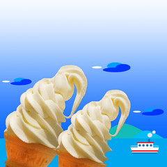 ソフトクリーム、夏、風景、