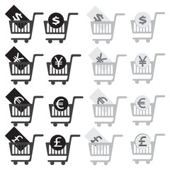 vector illustration shopping cart icon set