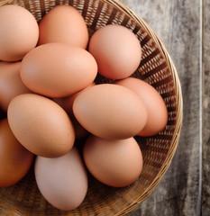Easter egg in a basket on wodden table