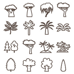 Trees linear icon set. Silhouette