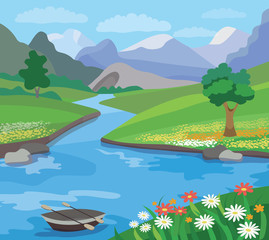 Beautiful  summer landscape (vector illustration)