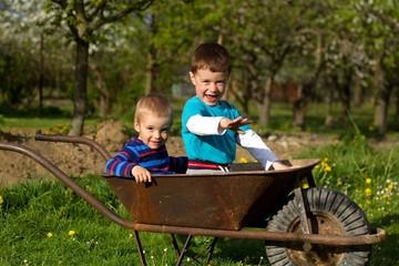 Two little boys  in the garden.