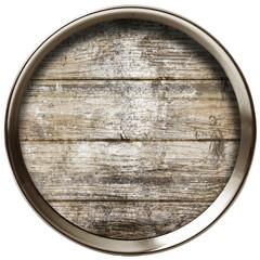 cerchio di metallo con inserto in legno