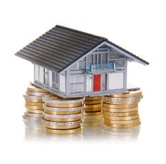 Haus auf Eurostücken als Säulen