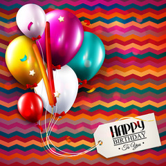 Birthday card with balloons, confetti and tag for your text.