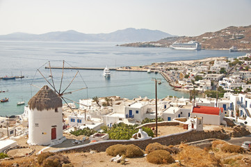 View of the Mykonos city