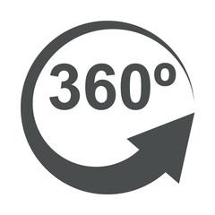 Icono aislado 360º gris