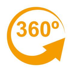 Icono aislado 360º naranja