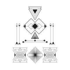 Set of geometric abstract figures with triangles, arrows, lines