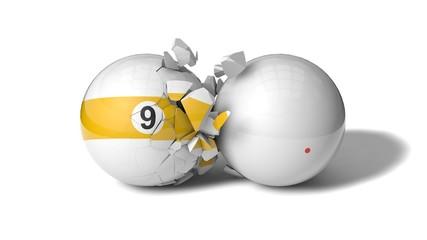 breaking billiard ball (ninth ball)