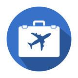 Icono redondo azul turismo con sombra