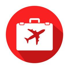 Icono redondo rojo turismo con sombra