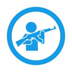 Icono redondo hombre armado azul