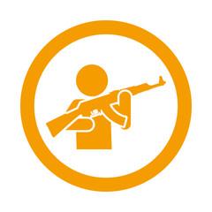 Icono redondo hombre armado naranja