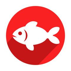 Icono redondo rojo pez con sombra