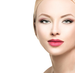 Beautiful blonde woman face close up