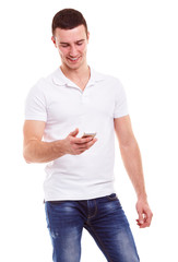 Young man holding mobile phone