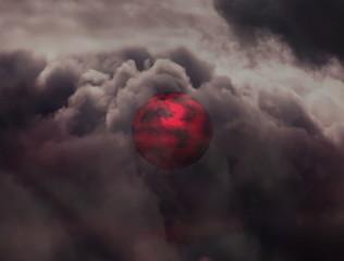 Red planet on black sky. 3d illustration