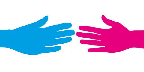 Blaue und pinke Hand beim Händeschütteln