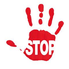 Hand zeigt Stop gegen Rassismus und Sexismus