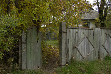 rural fence, Abandoned house in autumn