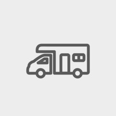 Camper van thin line icon