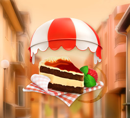 Coffee cake, vector illustration