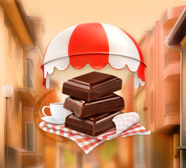 Pieces of chocolate and cup of coffee, background