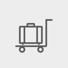 Trolley luggage thin line icon