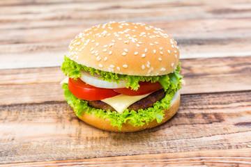 Hamburger on wood table