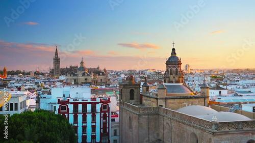 Foto op Aluminium New York Seville, Spain old quarter skyline at dusk.