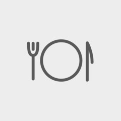 Plate, knife and fork thin line icon