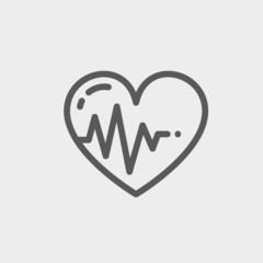 Heart with cardiogram thin line icon
