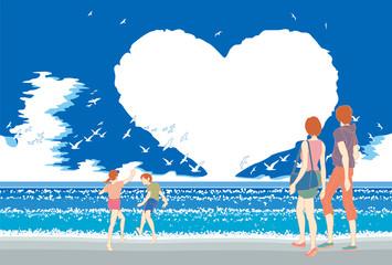 昼間の夏の海,ハートの雲,そして浜辺の家族