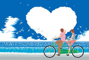 昼間の夏の海,ハートの雲,そして自転車の二人
