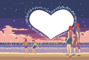 夕暮れの夏の海,ハートの星々,そして浜辺の家族