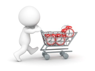 3D Character with Shopping Cart Buying Alarm Clocks