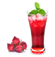 Hibiscus sabdariffa or roselle fruits and roselle juice isolated