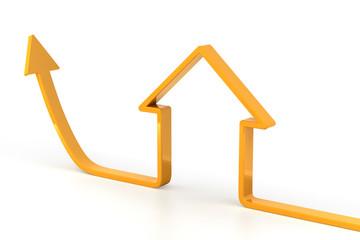 Rising arrow shaped like a house