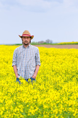 Farmer Standing in Oilseed Rapeseed Cultivated Agricultural Fiel