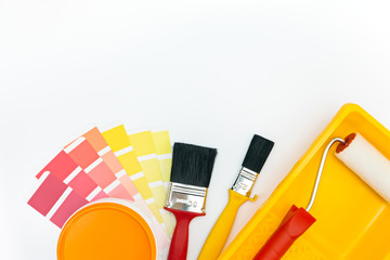 painting tools and accessories with color samples