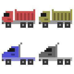 illustration pixel art icon truck