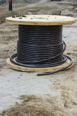 industrial underground cable on large wooden reel 2